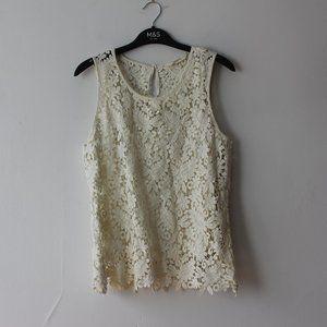 Naf Naf Crochet White Tank Top